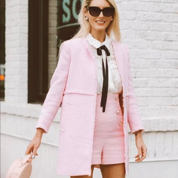 8b3d49c4 Zara Jackets & Coats | Nwt Beautiful Pastel Pink Tweed Coat Ss2018 ...